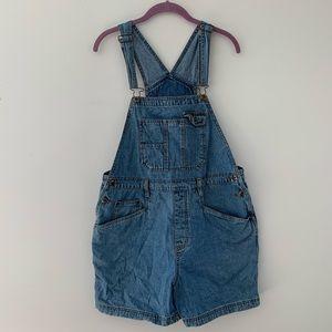 Vintage denim overalls shorts